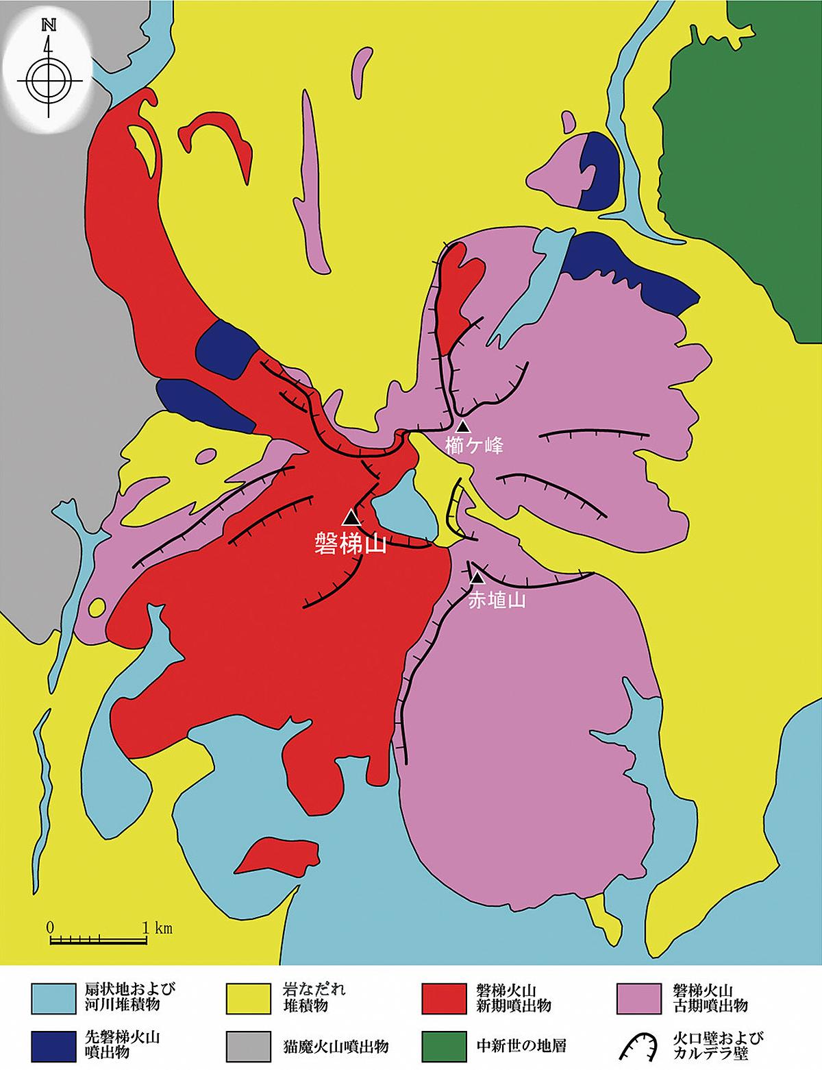磐梯山の地質図